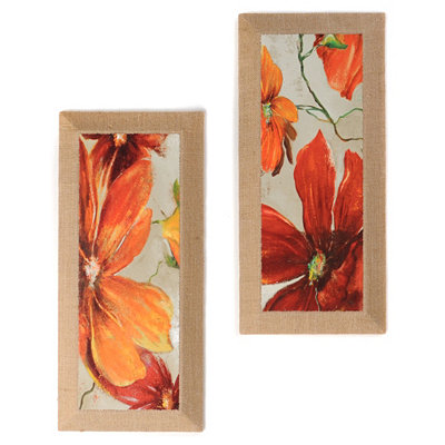 Moderniso Red Floral Burlap Canvas Art Print