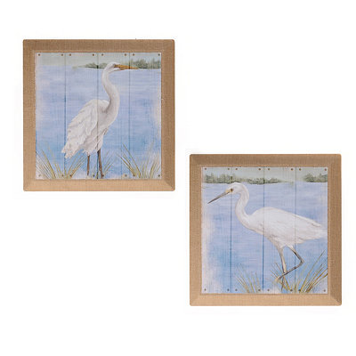 Herons On The Shore Burlap Canvas Art Print