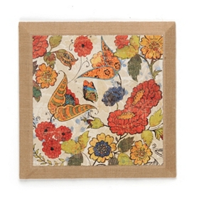 Botanical Beauty Burlap Wall Plaque