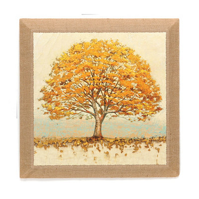 Golden Oak Burlap Wall Plaque