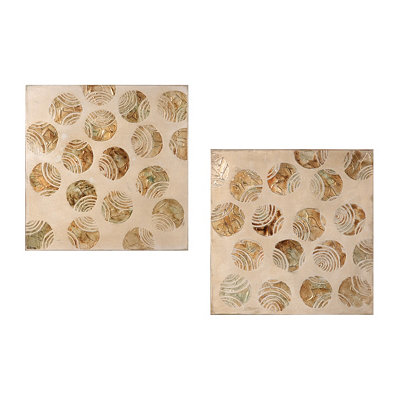 Metallic Circles Canvas Oil Painting, Set of 2