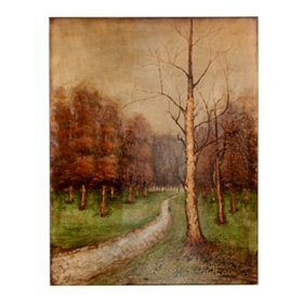 Fall Leaves Road Canvas Art Print