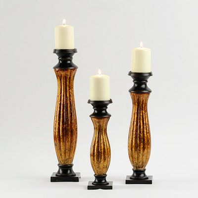 Gold Foil Glass Candle Holder, Set of 3