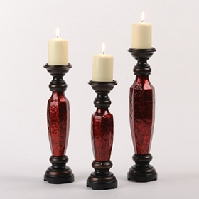 Crimson Swirls Candle Holders, Set of 3