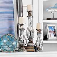 Antiqued Mercury Glass Candle Holder, Set of 3