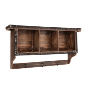 Rustic Lodge 3-Cubby Wall Shelf