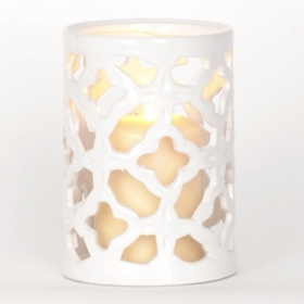 White Clover Ceramic Hurricane, 6.5 in.