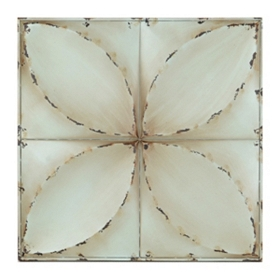 Blue Floral Tiles Metal Wall Plaque