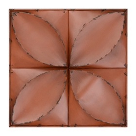Orange Floral Tiles Metal Wall Plaque