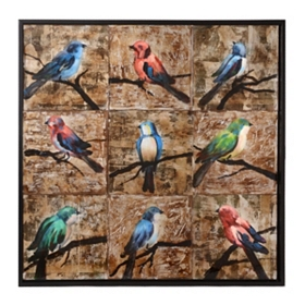 Bird Series Framed Wood Art
