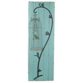 Birdcage Wooden Wall Plaque