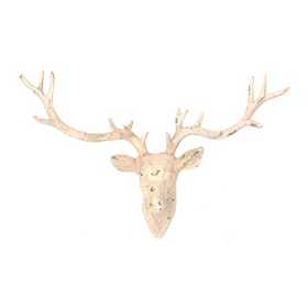 Distressed White Deer Head Wall Plaque