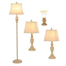 Ivory Helina Lamp Set