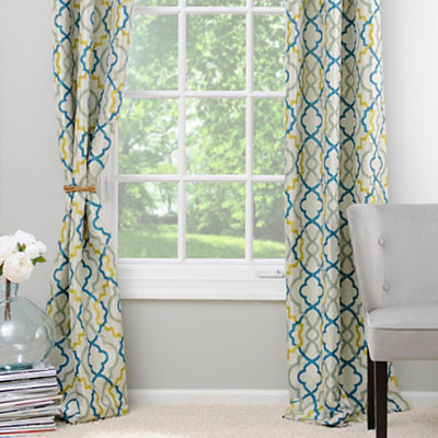 Marrakech Blue and Green Curtain Panel Set, 96 in.
