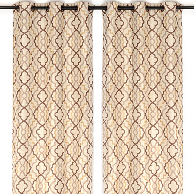 Marrakech Tan Curtain Panel Set, 96 in.