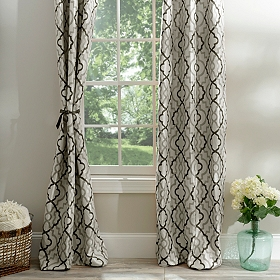 Marrakech Black and Gray Curtain Panel Set, 84 in.
