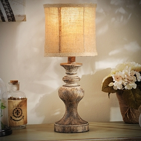 Natural Round Table Lamp