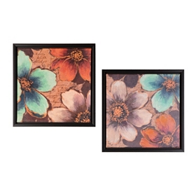 Summer Blooms Framed Canvas Prints, Set of 2
