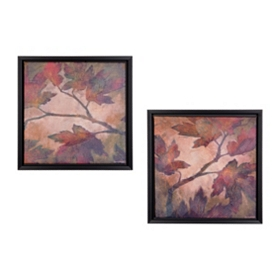 Fall Leaves Framed Canvas Prints, Set of 2