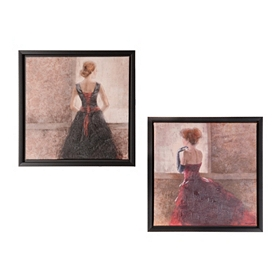 Lady in Waiting Framed Canvas Prints, Set of 2