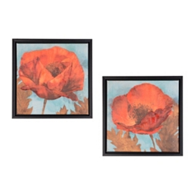 Poppy on Blue Framed Canvas Prints, Set of 2
