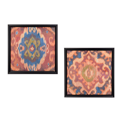 Ikat Pattern Framed Canvas Prints, Set of 2