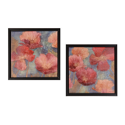 Poppies in Pink Framed Canvas Prints, Set of 2