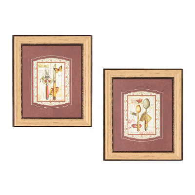 Garden Party Utensils Framed Art Print, Set of 2