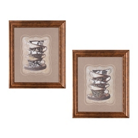 Damask Teacups Framed Art Print, Set of 2