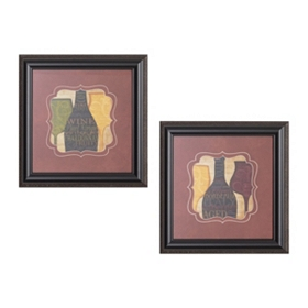 Wine Silhouette Framed Art Print, Set of 2