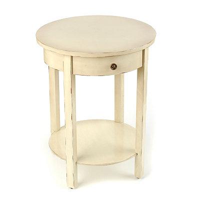 Distressed Cream Round Accent Table