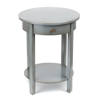 Distressed Blue Round Accent Table