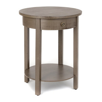 Distressed Brown Round Accent Table