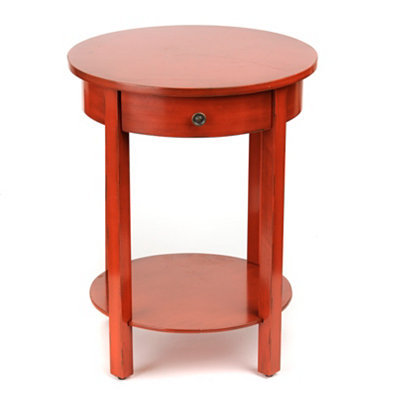 Distressed Red Round Accent Table