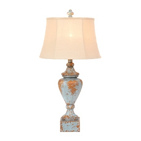 Distressed Blue Vase Table Lamp