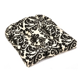 Black & White Damask Outdoor Seat Cushion