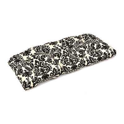 Black & White Damask Outdoor Settee Cushion