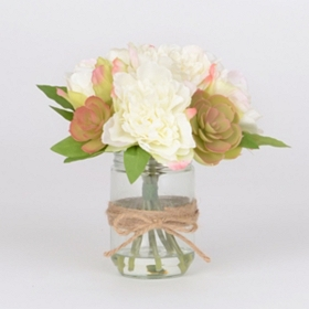 Peony and Succulent Bouquet in Water Glass