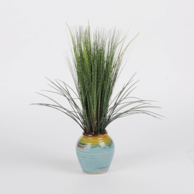 Grass Arrangement in Blue Planter, 22 in.