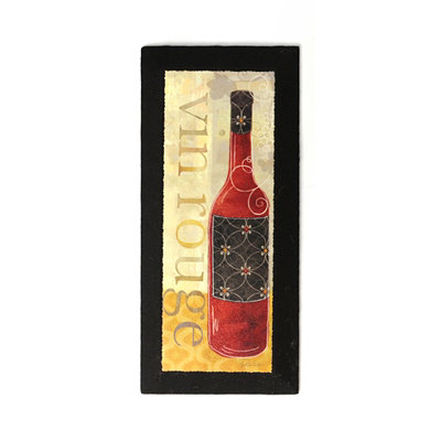 Vin Rouge Burlap Canvas Art Print