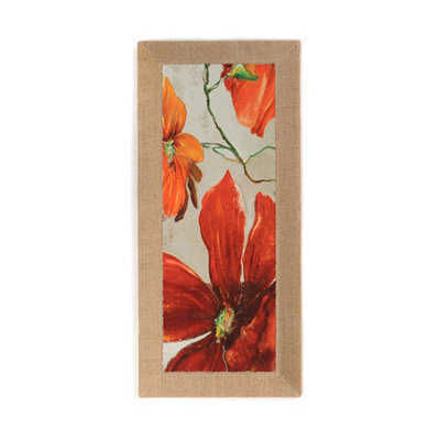 Moderniso Red Floral I Burlap Canvas Art Print