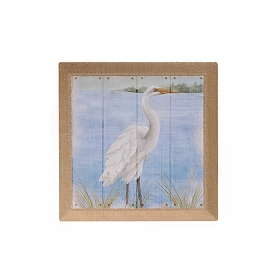 Heron On The Shore I Burlap Canvas Art Print