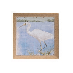 Heron On The Shore II Burlap Canvas Art Print