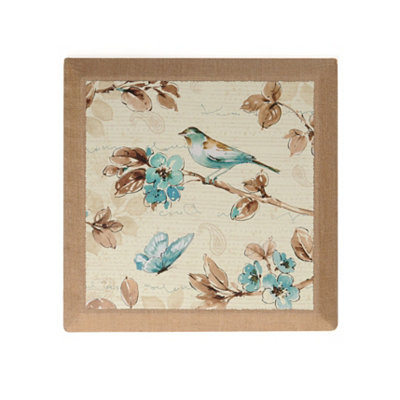 Blue Birds & Butterflies I Burlap Canvas Art Print