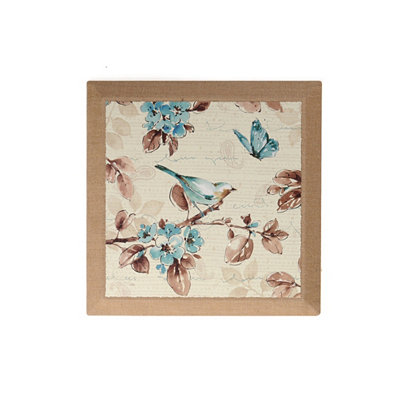 Blue Bird & Butterflies II Burlap Canvas Art Print
