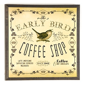 Early Bird Coffee Shop Plaque
