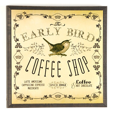 Early Bird Coffe Shop Plaque