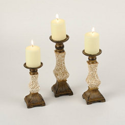 Cream and Gold Swirl Candle Holder, Set of 3