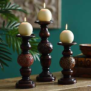 Ceramic Sphere Candle Holder, Set of 3