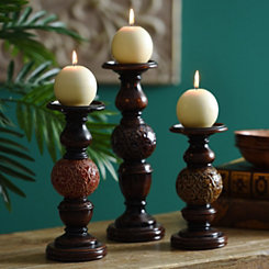 Ceramic Sphere Candle Holder, Set of 3